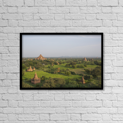 "Printscapes Wall Art: 18"" x 12"" Canvas Print With Black Frame - Pagodas In Bagan, Upper Burma; Myanmar by Chris Caldicott"