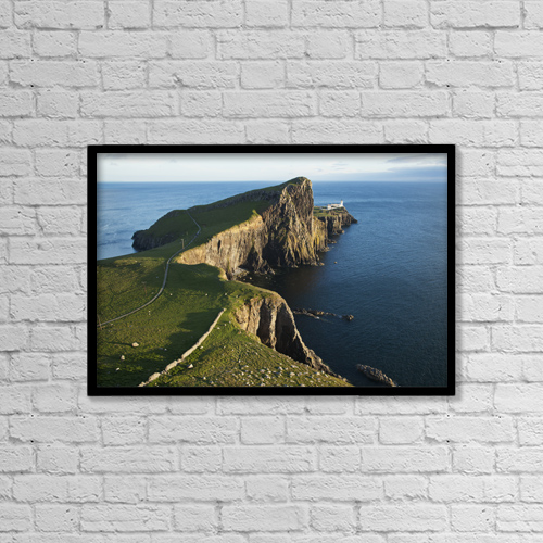 "Printscapes Wall Art: 18"" x 12"" Canvas Print With Black Frame - Lighthouse At Neist Point by Carl Bruemmer"