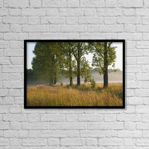 """Printscapes Wall Art: 18"""" x 12"""" Canvas Print With Black Frame - Trees With Fog Over A Field, Near Freiburg by Carl Bruemmer"""