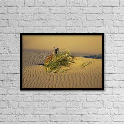 "Printscapes Wall Art: 18"" x 12"" Canvas Print With Black Frame - Wind Makes Ripples In The Sand by Robert L. Potts"