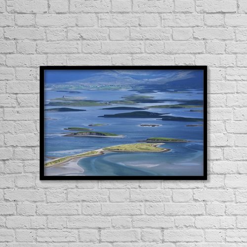 "Printscapes Wall Art: 18"" x 12"" Canvas Print With Black Frame - View From Mount Patrick Over Clew Bay by Carl Bruemmer"