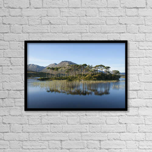 """Printscapes Wall Art: 18"""" x 12"""" Canvas Print With Black Frame - Derryclare Lough by Carl Bruemmer"""