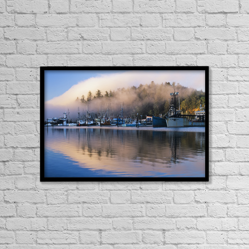 """Printscapes Wall Art: 18"""" x 12"""" Canvas Print With Black Frame - Boats Dock At Winchester Bay by Robert L. Potts"""
