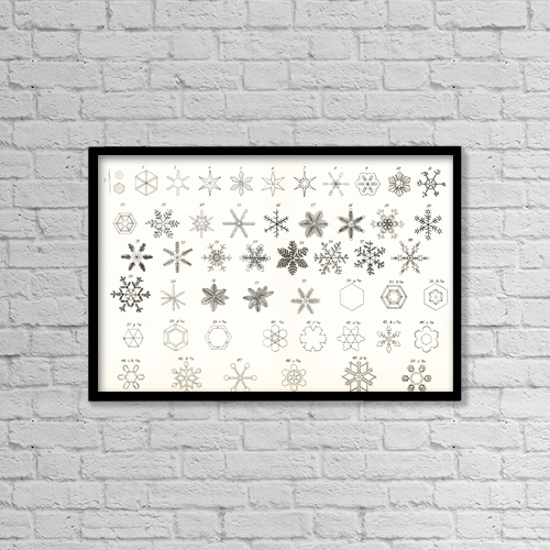 "Printscapes Wall Art: 18"" x 12"" Canvas Print With Black Frame - Different Forms Of Snow And Hailstones by Ken Welsh"