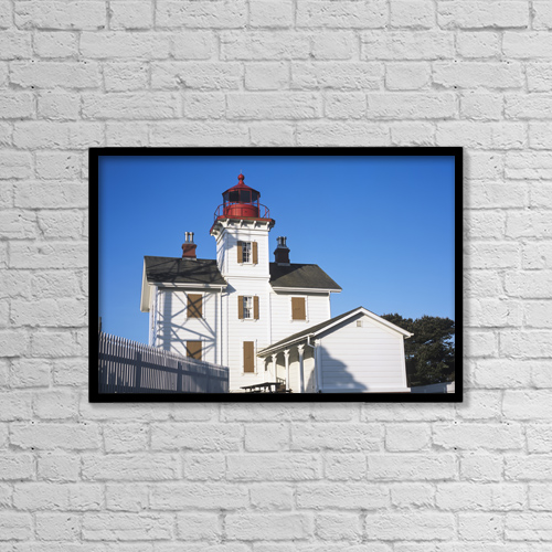"Printscapes Wall Art: 18"" x 12"" Canvas Print With Black Frame - Yaquina Bay Lighthouse by Robert L. Potts"