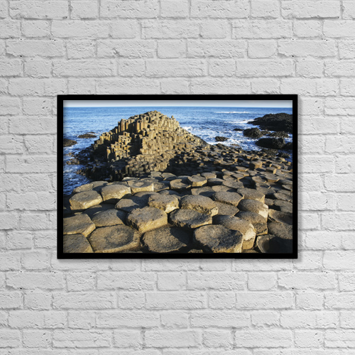 """Printscapes Wall Art: 18"""" x 12"""" Canvas Print With Black Frame - The Lunar-Like Landscape Of Giant's Causeway by Paul Quayle"""