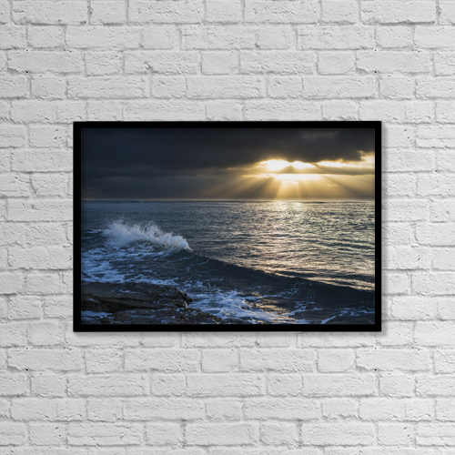 "Printscapes Wall Art: 18"" x 12"" Canvas Print With Black Frame - Surf Breaks At Sunrise by Robert L. Potts"