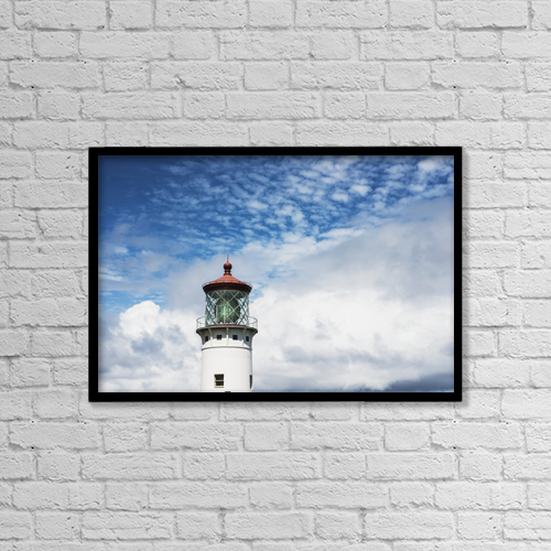 "Printscapes Wall Art: 18"" x 12"" Canvas Print With Black Frame - Kilauea Lighthouse, A Popular Landmark by Robert L. Potts"
