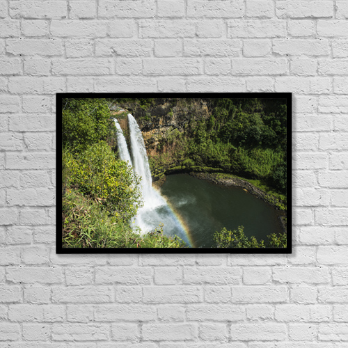 "Printscapes Wall Art: 18"" x 12"" Canvas Print With Black Frame - A Rainbow Adorns Wailua Falls by Robert L. Potts"