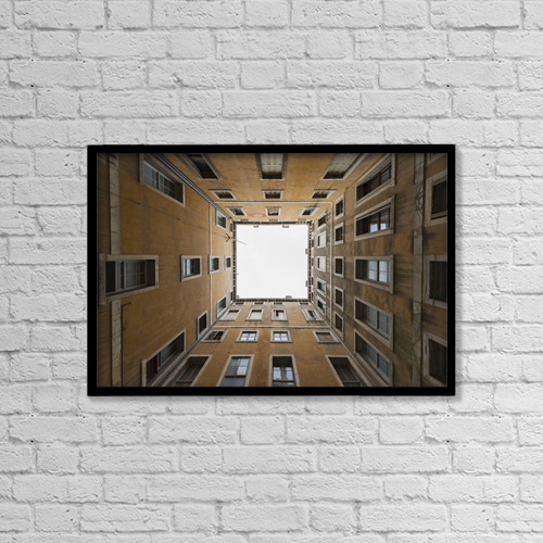 "Printscapes Wall Art: 18"" x 12"" Canvas Print With Black Frame - Architectural Exteriors by Mats Silvan"