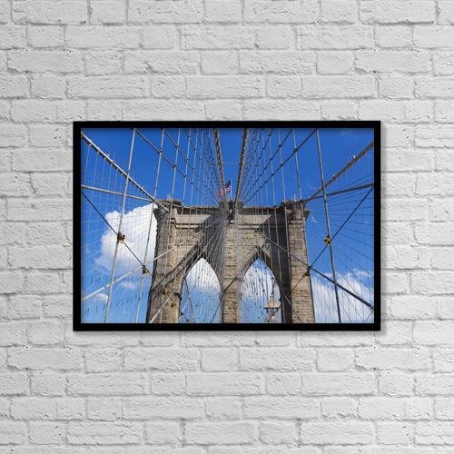"Printscapes Wall Art: 18"" x 12"" Canvas Print With Black Frame - Brooklyn Bridge by Mark Thomas"