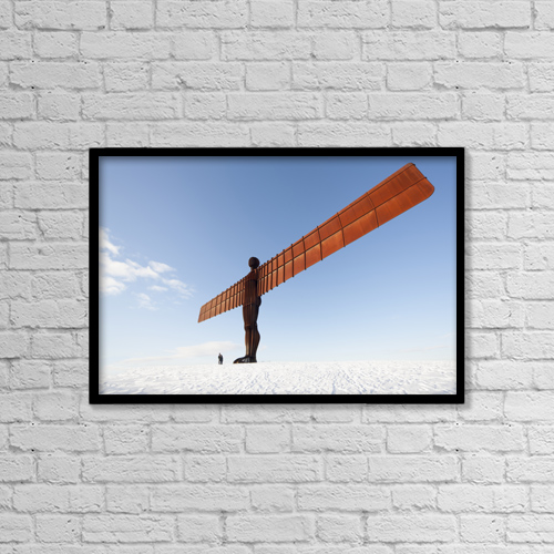 "Printscapes Wall Art: 18"" x 12"" Canvas Print With Black Frame - Angel Of The North by John Short"