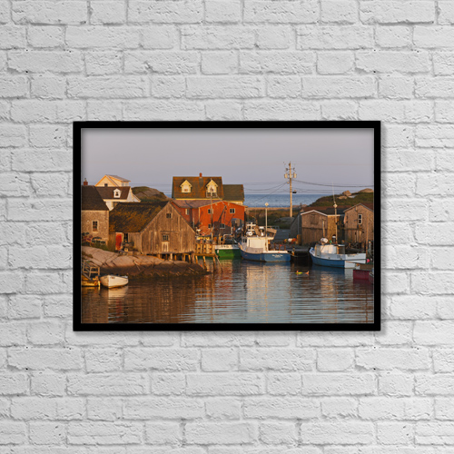 "Printscapes Wall Art: 18"" x 12"" Canvas Print With Black Frame - Moored Boats by Carl Bruemmer"