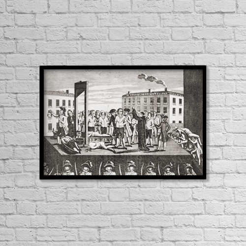 "Printscapes Wall Art: 18"" x 12"" Canvas Print With Black Frame - The Execution Of Jacques Pierre Brissot, 1754 by Ken Welsh"
