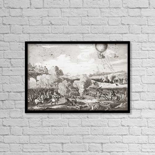 "Printscapes Wall Art: 18"" x 12"" Canvas Print With Black Frame - Battle Of Fleurus On 26 June 1794 by Ken Welsh"