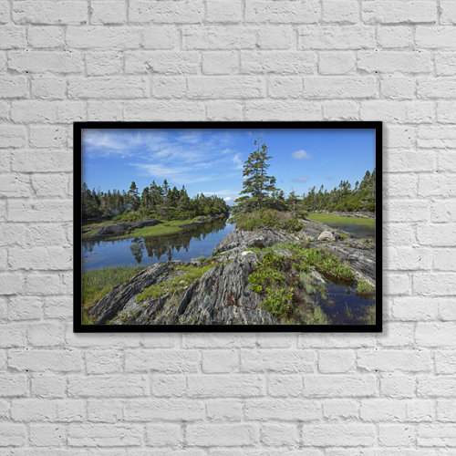 "Printscapes Wall Art: 18"" x 12"" Canvas Print With Black Frame - Coast East Of Lunenburg by Carl Bruemmer"