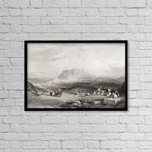 "Printscapes Wall Art: 18"" x 12"" Canvas Print With Black Frame - Athens, Greece, From A 19th Century Engraving by Ken Welsh"