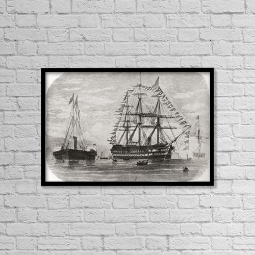 "Printscapes Wall Art: 18"" x 12"" Canvas Print With Black Frame - Hms Hero In 1860 by Ken Welsh"