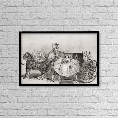 "Printscapes Wall Art: 18"" x 12"" Canvas Print With Black Frame - A Bride Arriving At Her Wedding In 1859 by Ken Welsh"
