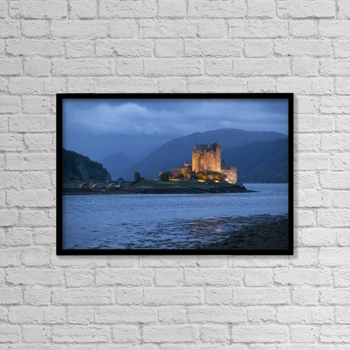 "Printscapes Wall Art: 18"" x 12"" Canvas Print With Black Frame - Eilean Donan Castle by Carl Bruemmer"