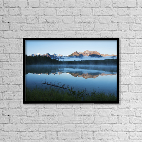 "Printscapes Wall Art: 18"" x 12"" Canvas Print With Black Frame - Herbert Lake, Banff National Park by Carl Bruemmer"