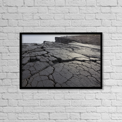 "Printscapes Wall Art: 18"" x 12"" Canvas Print With Black Frame - Lava Formation Near Lajido by Carl Bruemmer"