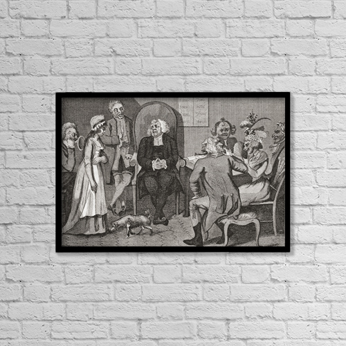 "Printscapes Wall Art: 18"" x 12"" Canvas Print With Black Frame - Scene In An English Divorce Court, 1780 by Ken Welsh"