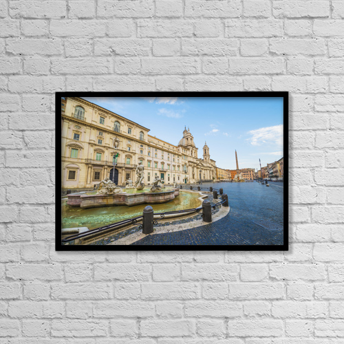 "Printscapes Wall Art: 18"" x 12"" Canvas Print With Black Frame - Fountain In Piazza Navona; Rome, Italy by Mats Silvan"