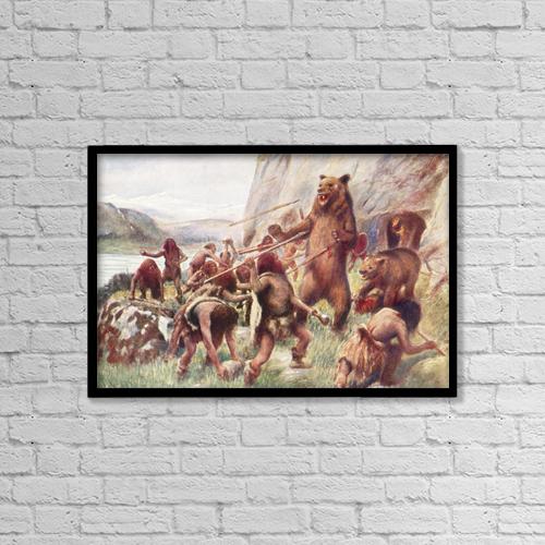 "Printscapes Wall Art: 18"" x 12"" Canvas Print With Black Frame - Stone Age Man Hunting Wild Bears by Ken Welsh"