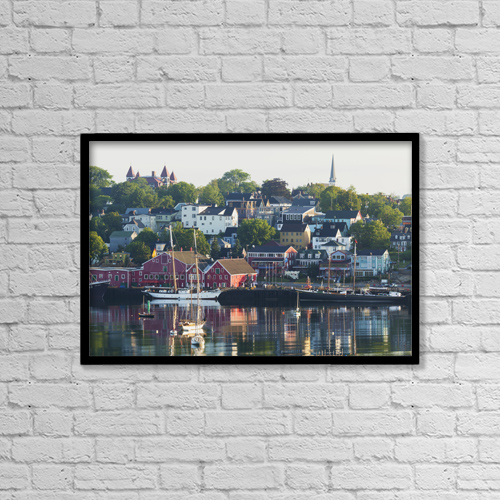"Printscapes Wall Art: 18"" x 12"" Canvas Print With Black Frame - A Canadian Port Town On Mahone Bay by Carl Bruemmer"