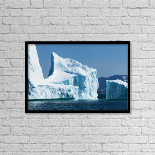 "Printscapes Wall Art: 18"" x 12"" Canvas Print With Black Frame - Icebergs Along The Coast North Of Nain by Carl Bruemmer"