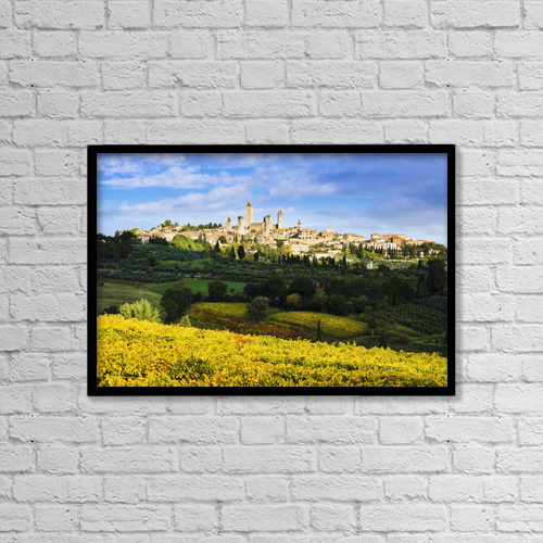 "Printscapes Wall Art: 18"" x 12"" Canvas Print With Black Frame - Vineyards And San Gimignano; Tuscany, Italy by Yves Marcoux"