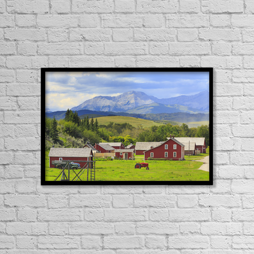 "Printscapes Wall Art: 18"" x 12"" Canvas Print With Black Frame - Bar U Ranch National Historic Site by Ken Gillespie"