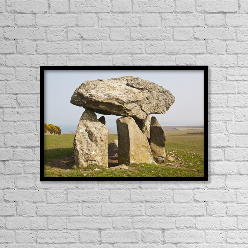 "Printscapes Wall Art: 18"" x 12"" Canvas Print With Black Frame - Careg Sampson Dolmen, South West Wales; Wales by Paul Quayle"
