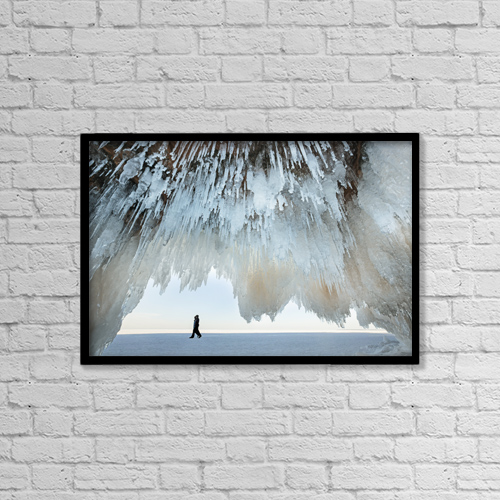 "Printscapes Wall Art: 18"" x 12"" Canvas Print With Black Frame - Ice Caves On Lake Superior, Near Bayfield by Susan Dykstra"