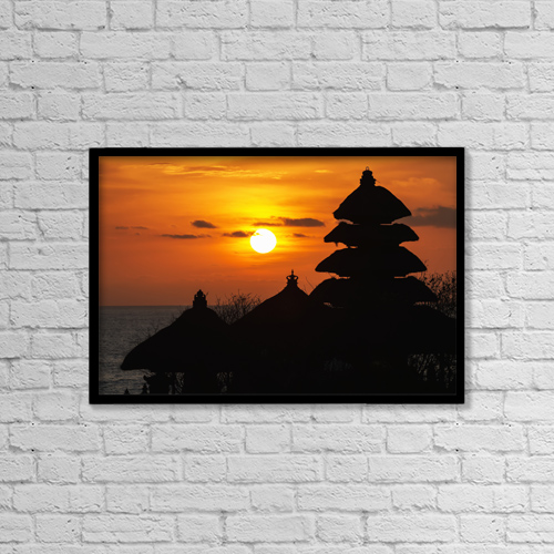 "Printscapes Wall Art: 18"" x 12"" Canvas Print With Black Frame - Tanah Lot Temple At Sunset, Bali, Indonesia by Peter Langer"