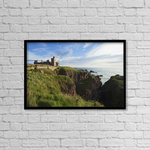 """Printscapes Wall Art: 18"""" x 12"""" Canvas Print With Black Frame - Ruins Of Slains Castle Near Cruden Bay by Carl Bruemmer"""