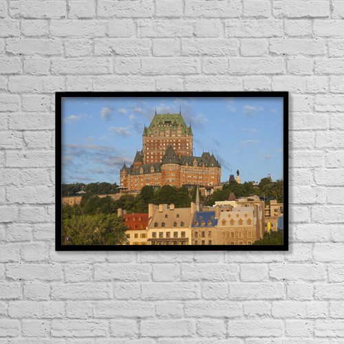 "Printscapes Wall Art: 18"" x 12"" Canvas Print With Black Frame - Chateau Frontenac by Carl Bruemmer"