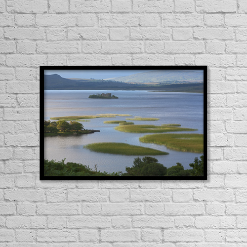 "Printscapes Wall Art: 18"" x 12"" Canvas Print With Black Frame - Ruins In Lough Corrib by Carl Bruemmer"