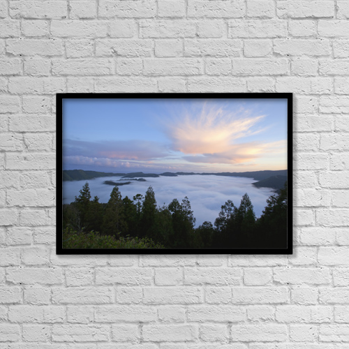 "Printscapes Wall Art: 18"" x 12"" Canvas Print With Black Frame - Sete Cidades by Carl Bruemmer"