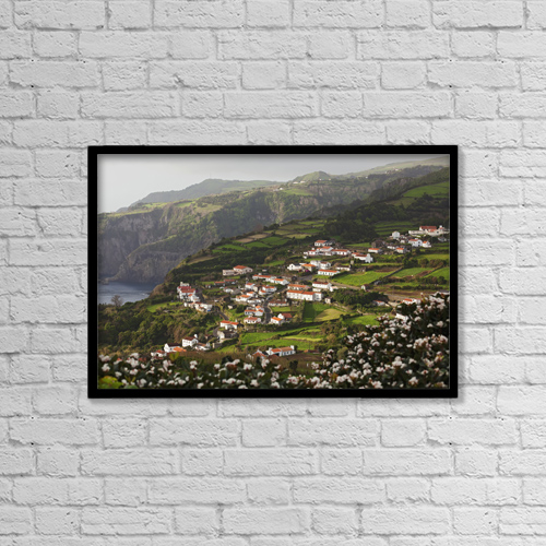 """Printscapes Wall Art: 18"""" x 12"""" Canvas Print With Black Frame - Houses On A Hillside by Carl Bruemmer"""