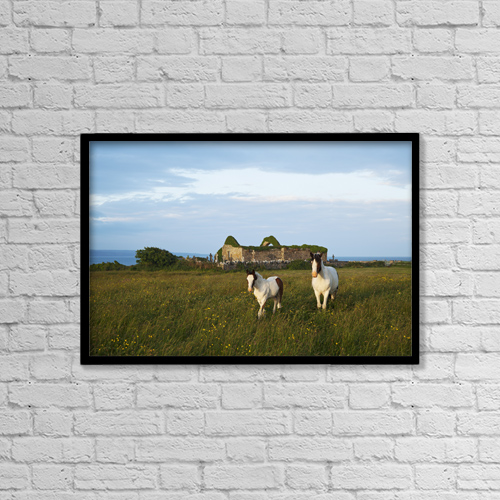 "Printscapes Wall Art: 18"" x 12"" Canvas Print With Black Frame - Horses Beside Church Ruins, Near Liscannor by Carl Bruemmer"