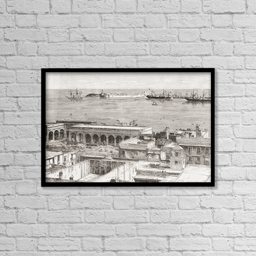 "Printscapes Wall Art: 18"" x 12"" Canvas Print With Black Frame - View Of Veracruz And The San Juan De Ul by Ken Welsh"