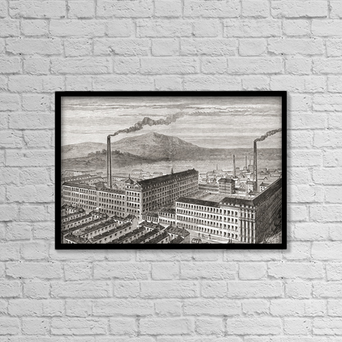 "Printscapes Wall Art: 18"" x 12"" Canvas Print With Black Frame - York Street Mill, Belfast, Northern Ireland C by Ken Welsh"