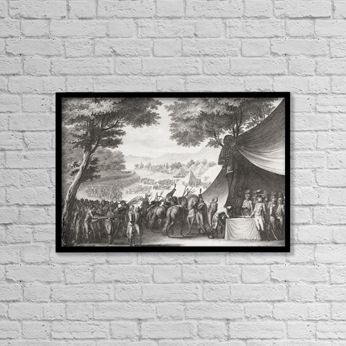 """Printscapes Wall Art: 18"""" x 12"""" Canvas Print With Black Frame - The Pacification Of The Vend by Ken Welsh"""