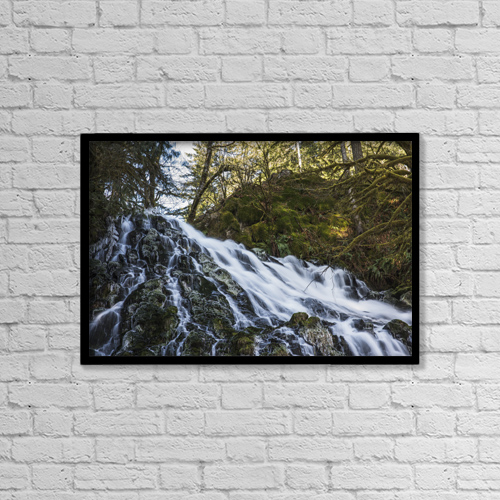 "Printscapes Wall Art: 18"" x 12"" Canvas Print With Black Frame - Fishhawk Falls, Lee Wooden County Park by Robert L. Potts"