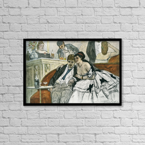 "Printscapes Wall Art: 18"" x 12"" Canvas Print With Black Frame - The Drunken Dandy, After Felicien Rops by Ken Welsh"
