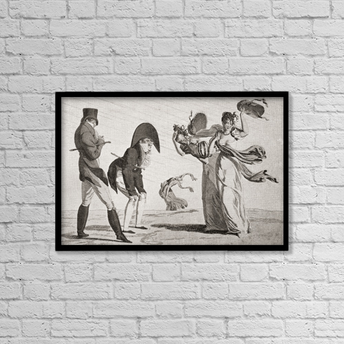 "Printscapes Wall Art: 18"" x 12"" Canvas Print With Black Frame - Two Ladies Lose Their Hats On A Windy Day by Ken Welsh"