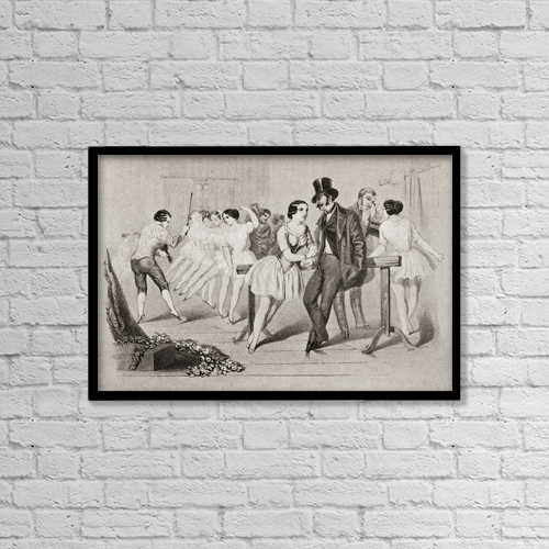 "Printscapes Wall Art: 18"" x 12"" Canvas Print With Black Frame - A 19th Century Ballet Class by Ken Welsh"