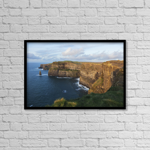 "Printscapes Wall Art: 18"" x 12"" Canvas Print With Black Frame - Cliffs Of Moher; County Clare, Ireland by Carl Bruemmer"